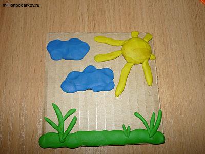 Поделки из пластилина картона 517