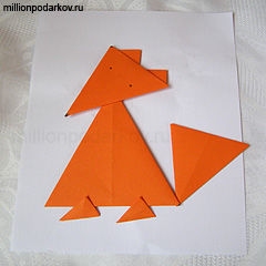 Как сделать из цветной бумаги лису
