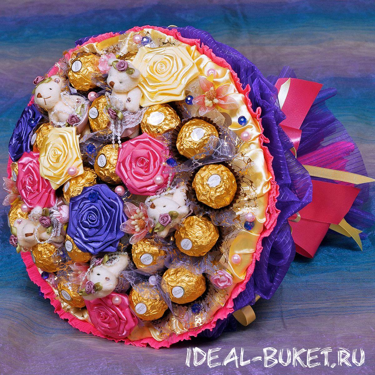 Букет из конфет и гофробумаги своими руками 55