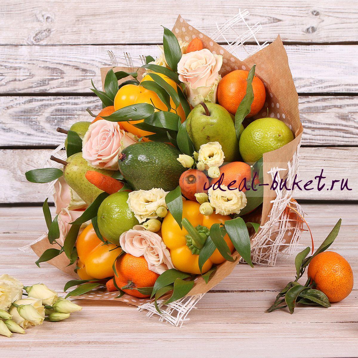 Букет подарочный из фруктов своими руками 73
