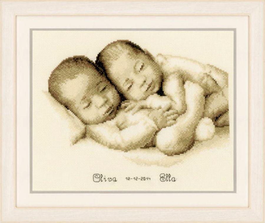 Вышивка крестиком для близнецов