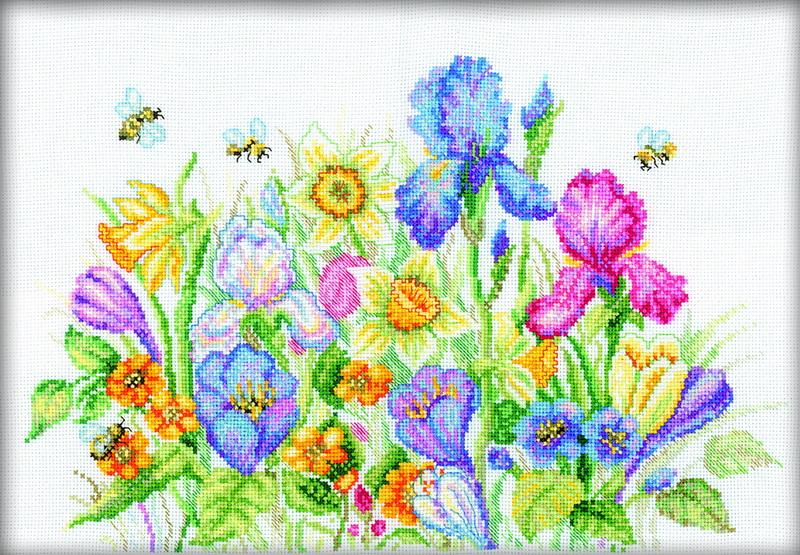 Наборы для вышивание крестиком цветы