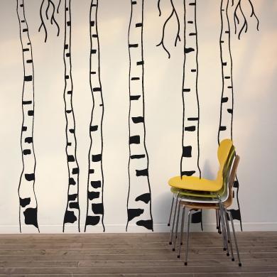 Рисовать березу на стене