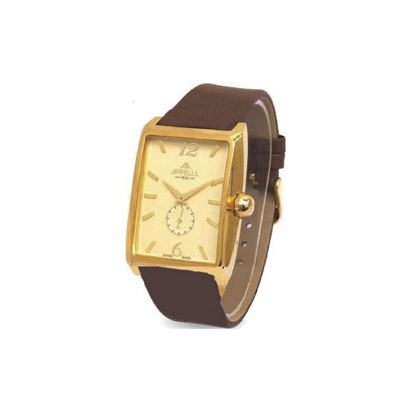 APPELLA 4339-1012 - Мужские наручные часы прямоугольной формы с секундной стрелкой на кожаном ремешке