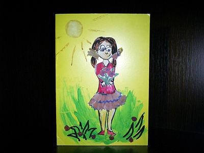Открытки девочка с цветочком