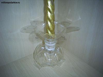 Подсвечник для длинных свечей своими руками из пластиковой бутылки