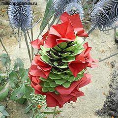 цветы из шишек мастер класс фото