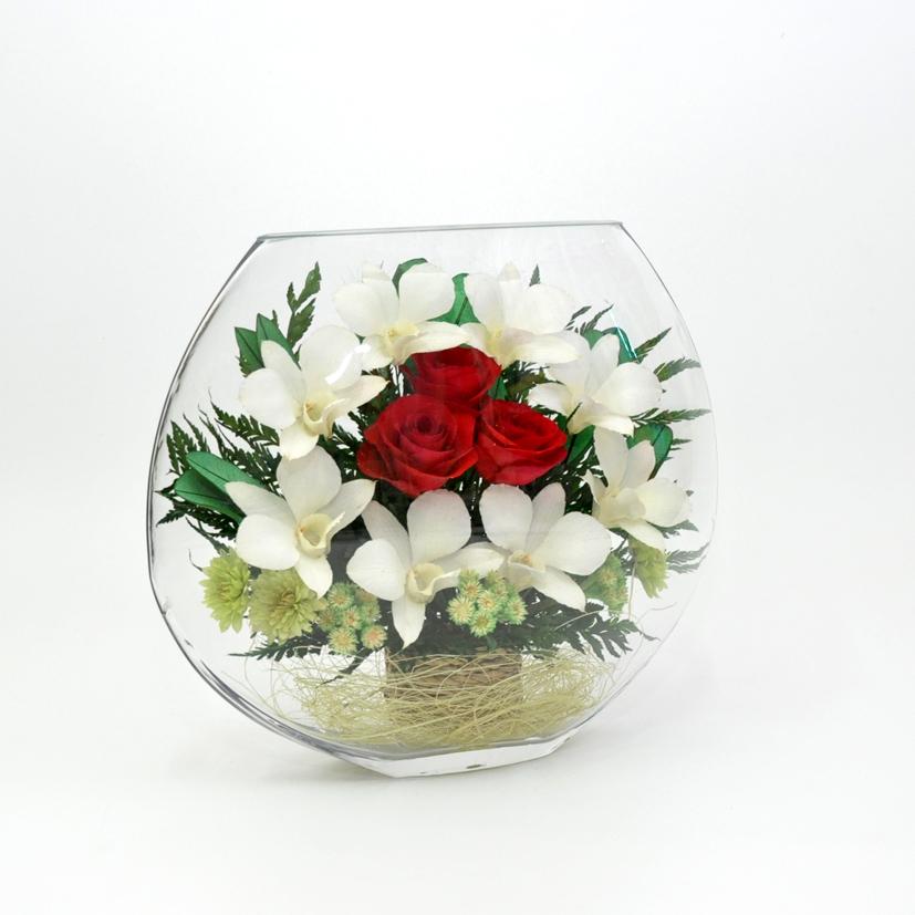 Композиции из искусственных цветов в круглых вазах, цветы оптом