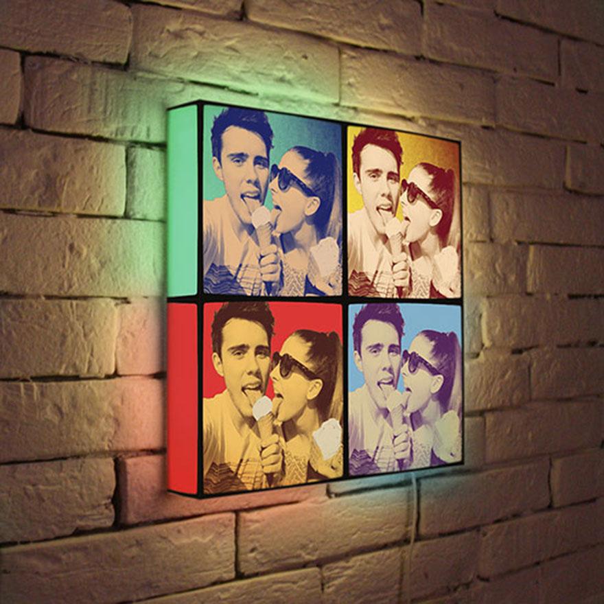 сделать светильник с фотографией на стену тренде полоска различных