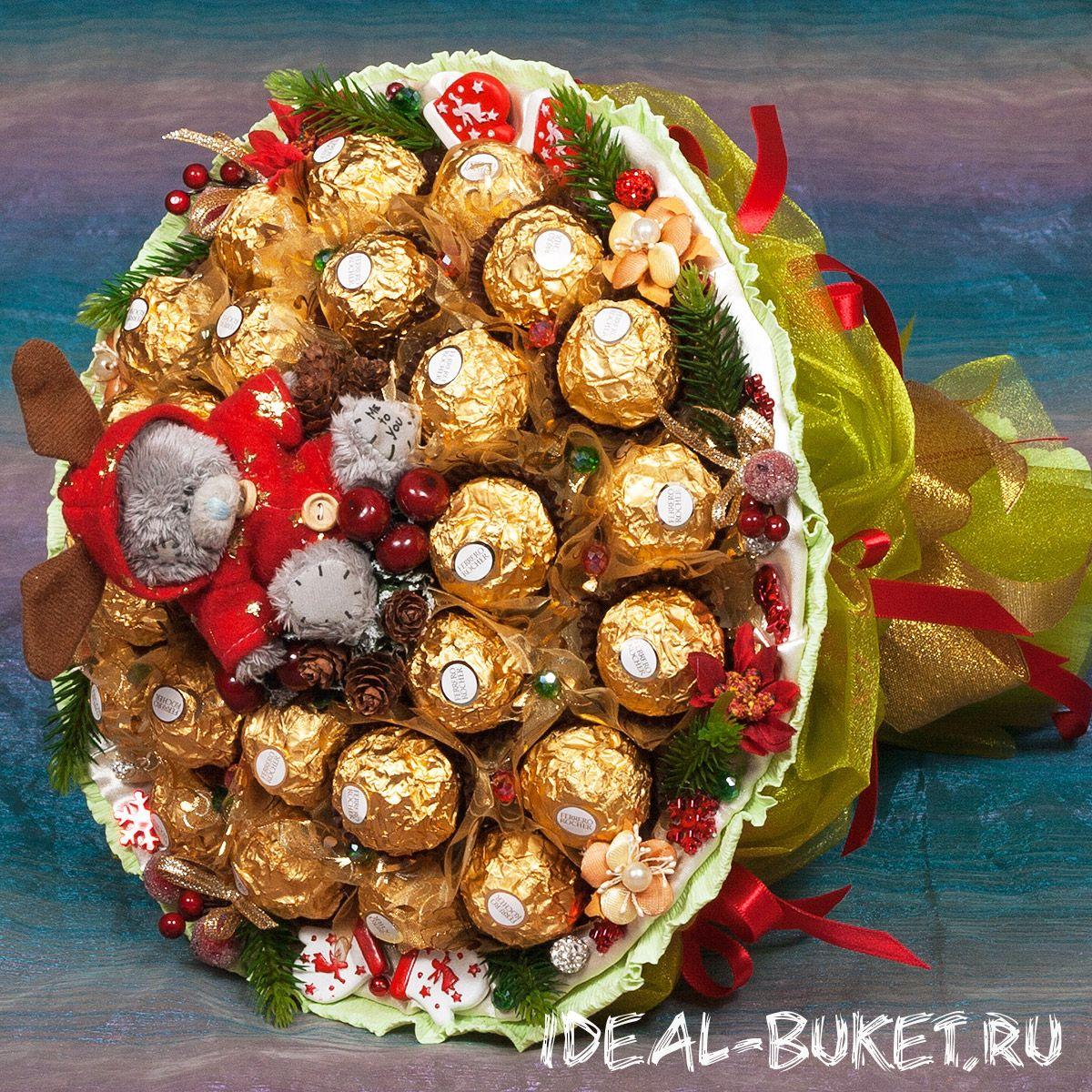 Букет, оформление букет на новый год из конфетки